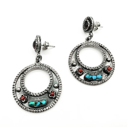 Silver Mexican Dangly Earrings set with Amethyst, Turquoise and Coral