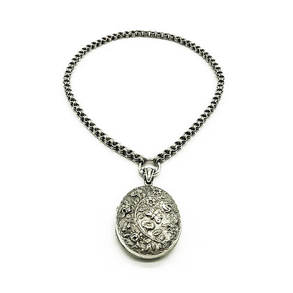 Victorian Silver Choker with Engraved Locket