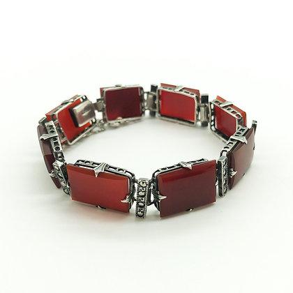 Silver Art Deco Marcasite and Carnelian Bracelet
