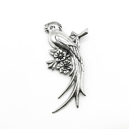 Large Silver Mexican Repoussé Bird Brooch