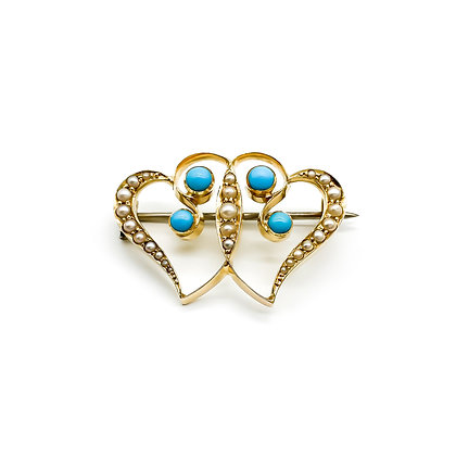Victorian 18ct Gold Turquoise and Pearl Brooch