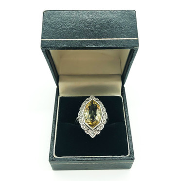 Platinum Art Deco Diamond and Yellow Beryl (Heliodor) Ring