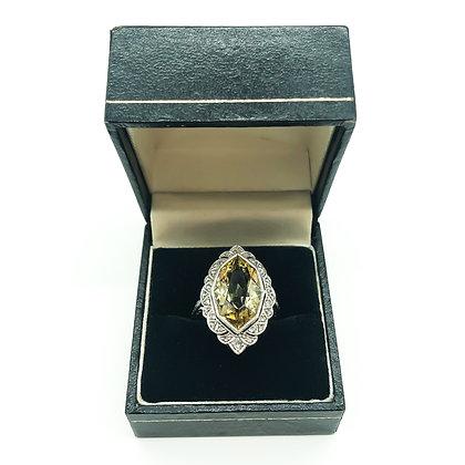 Art Deco Platinum Diamond and Yellow Beryl (Heliodor) Ring