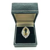 Platinum Art Deco Diamond and Yellow Beryl (Heliodor) Ring