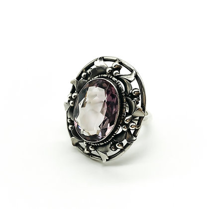 Large Silver Ring set with Amethyst