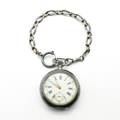 Victorian Silver and Gold Niello Pocket Watch