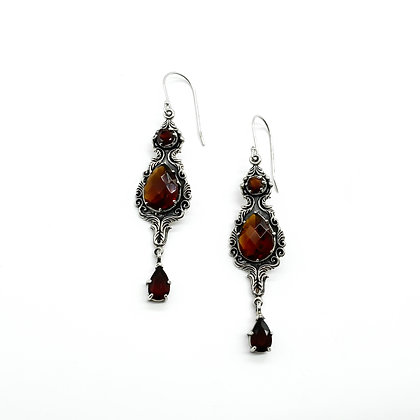 Vintage Silver Garnet and Resin Earrings (Sold)
