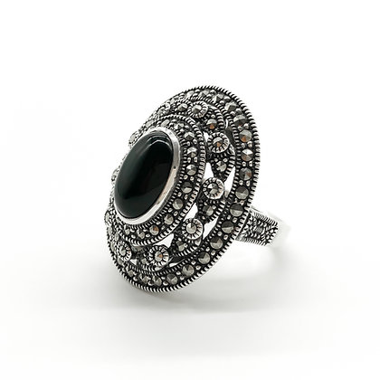 Silver Ring set with Oval Onyx and Marcasites