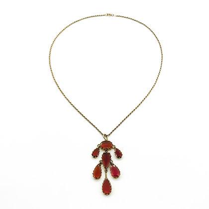 Vintage 9ct Gold Garnet Pendant on Chain