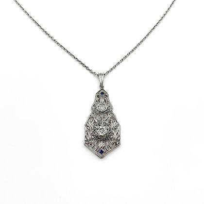 18ct White Gold Art Deco Diamond Pendant on Chain