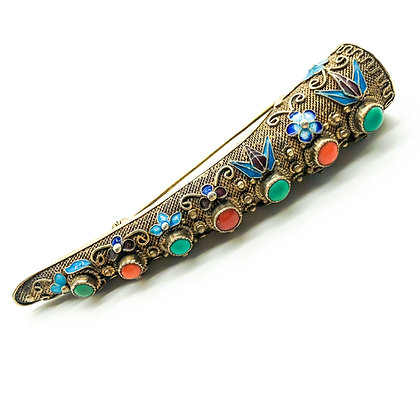 Silver Gilt Turquoise and Coral Enamelled Finger Brooch