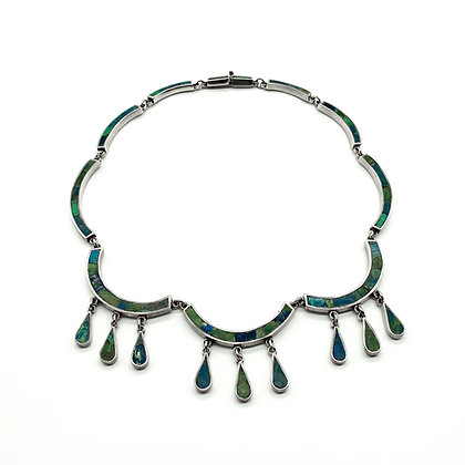 Silver Crushed Stone Mexcian Necklace