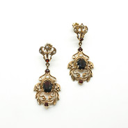 Vintage 9ct Gold Drop Earrings set with Garnets and Seed Pearls