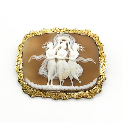 Victorian 15ct Gold Three Graces Cameo Brooch/Pendant