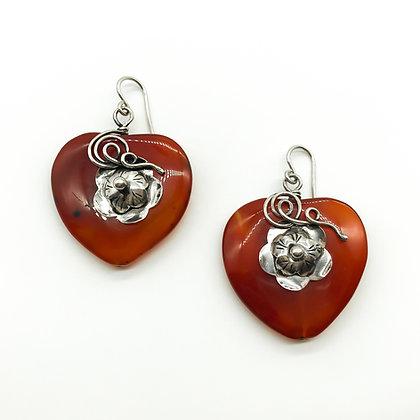 Vintage Silver Heart-Shaped Carnelian Earrings (Sold)