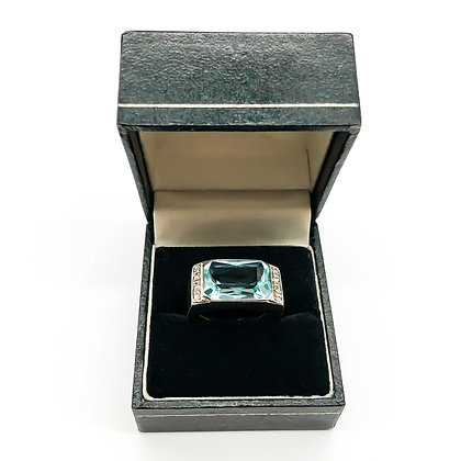 14ct White Gold Aquamarine and Diamond Ring (Sold)