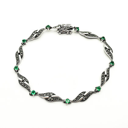Silver Marcasite Bracelet set with Emeralds