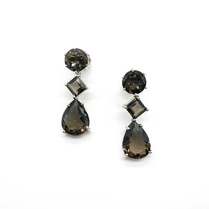 Silver Smokey Quartz Drop Earrings