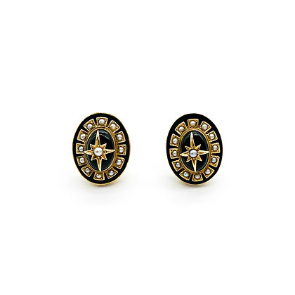 Victorian 18ct Gold and Onyx Earrings (Sold)