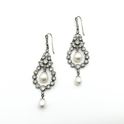 9ct Gold and Silver Earrings with Pearls