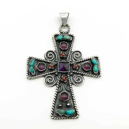 Vintage Mexican Silver Cross Pendant set with Amethyst, Turquoise and Coral