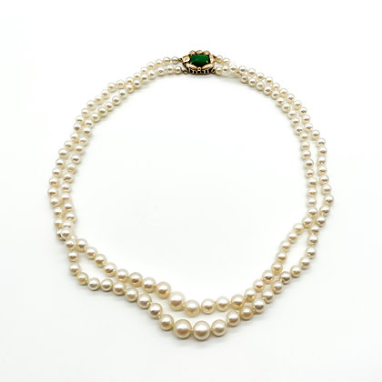 Double String Pearl Necklace with 14ct Gold Emerald Clasp
