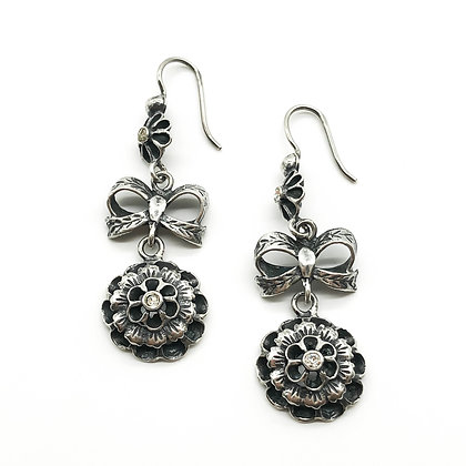 Vintage Silver Drop Earrings set with Paste Stones