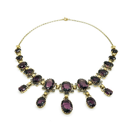 Edwardian Gold-plated Glass Festoon Necklace (Sold)