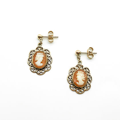 Vintage 9ct Gold Earrings set with Cameos (Sold)