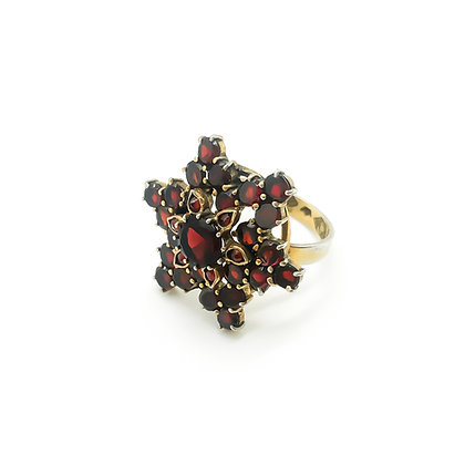 Silver Gilt Garnet Ring