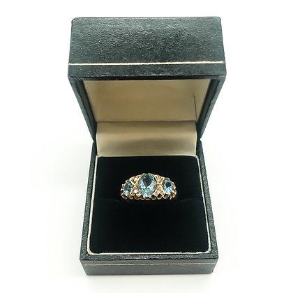 9ct Gold Aquamarine and Diamond Ring (Sold)