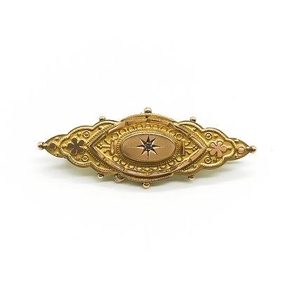 Victorian 9ct Gold Etruscan Bar Brooch