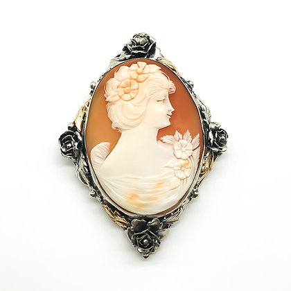 Vintage Cameo set in Ornate Silver and 14ct Gold Frame