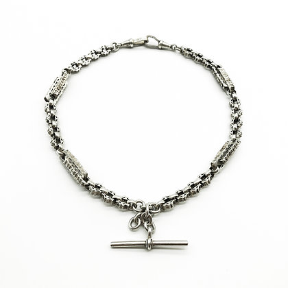 Victorian Silver Fancy Link Fob Chain