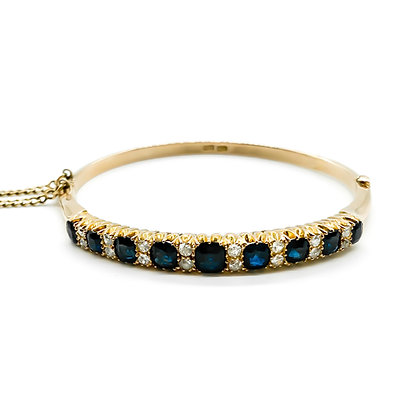 Victorian 9ct Gold Sapphire and Diamond Bangle