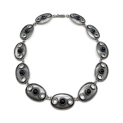 Vintage Sterling Silver and Onyx Mexican Necklace