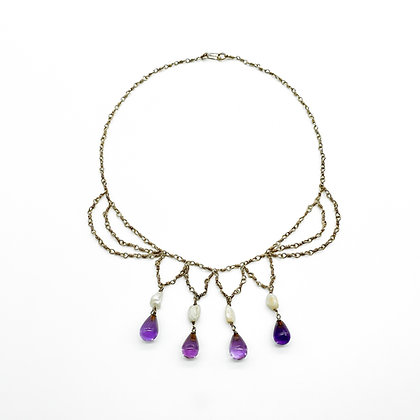 Edwardian Silver Gilt Necklace with Pearl and Amethyst Drops