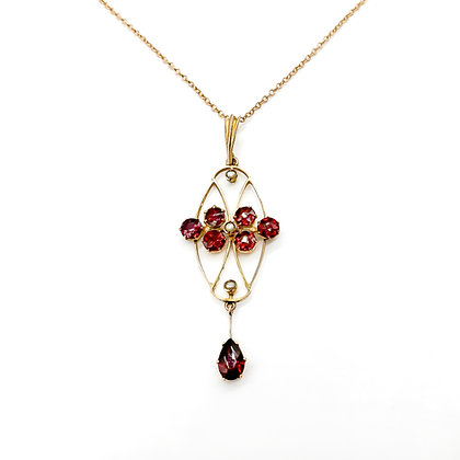9ct Rose Gold Garnet and Seed Pearl Pendant on Chain