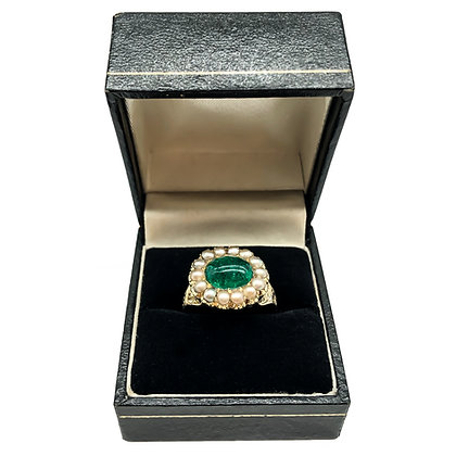 Victorian 15ct Gold Cabochon Emerald and Seed Pearl Ring (Sold)