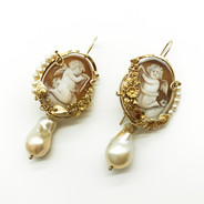 Silver Gilt Cameo Earrings With Pearl Drops