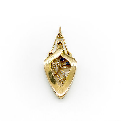 15ct Gold Seed Pearl and Sapphire Pendant