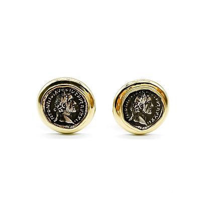 9ct Gold Roman Coin Earrings