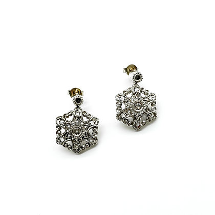 Victorian 19ct Gold and Silver Diamond Earrings