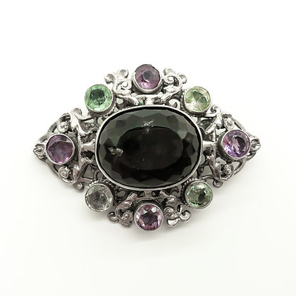 Silver Brooch set with Smokey Quartz and Amethysts