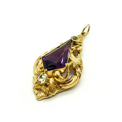 Victorian 15ct Gold Amethyst and Peridot Pendant (Sold)