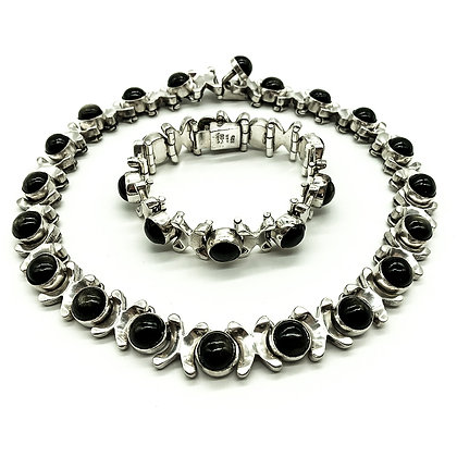 Vintage Mexican Silver and Black Tiger's Eye Choker and Bracelet Set (Sold)