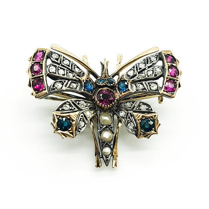 Victorian 18ct Gold and Silver Insect Brooch/Pendant (Sold)