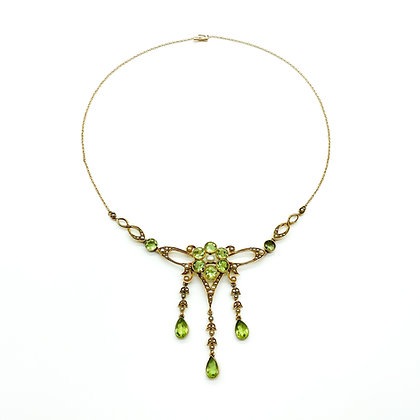Edwardian 15ct Gold Peridot and Seed Pearl Necklace (sold)