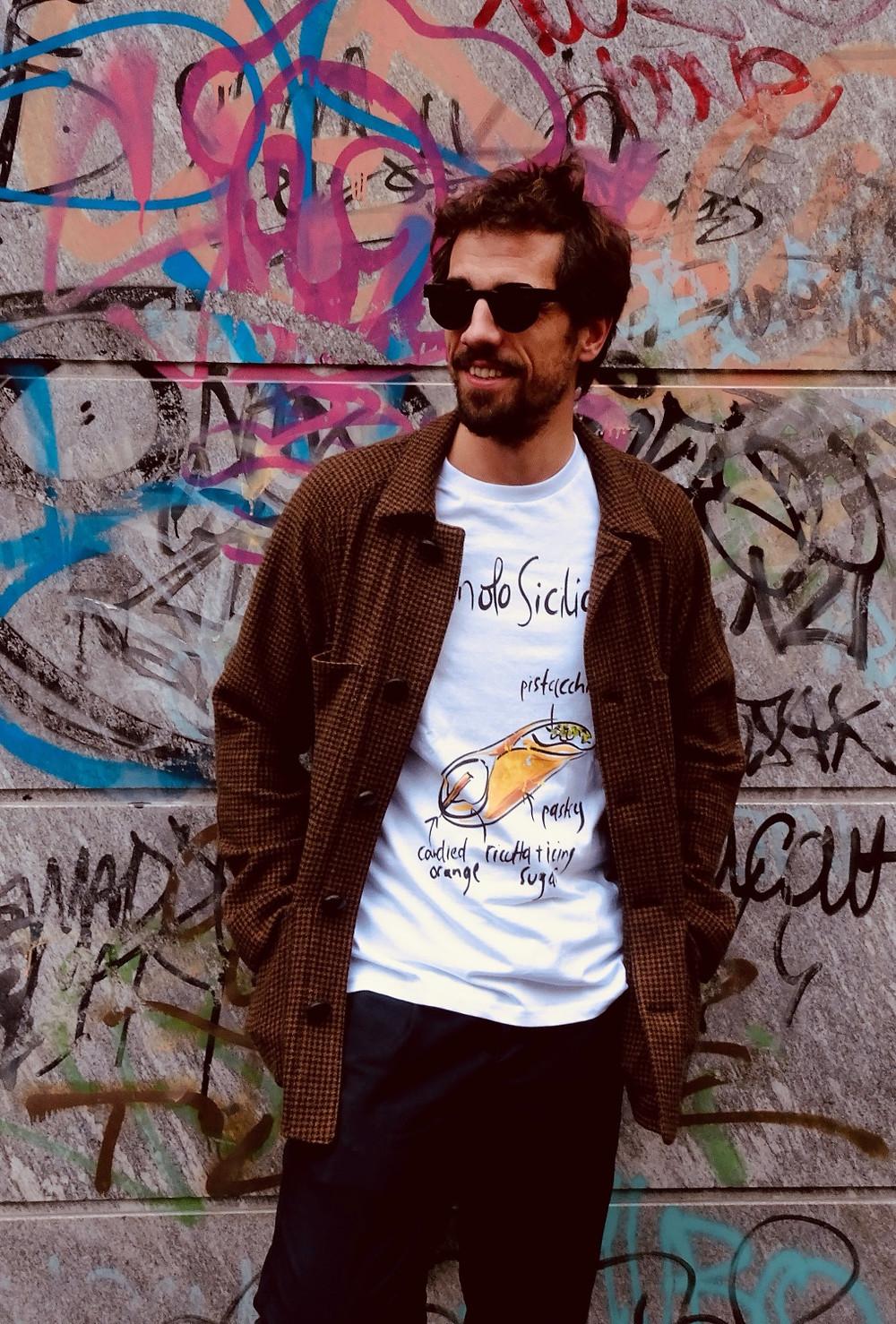 T-shirt con scritte Cannolo siciliano - Tarluc