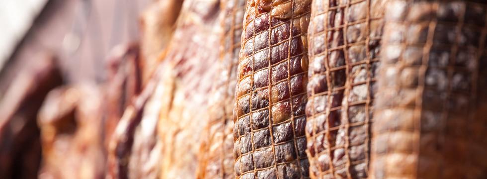 Serbian ham, called prsut, italian style